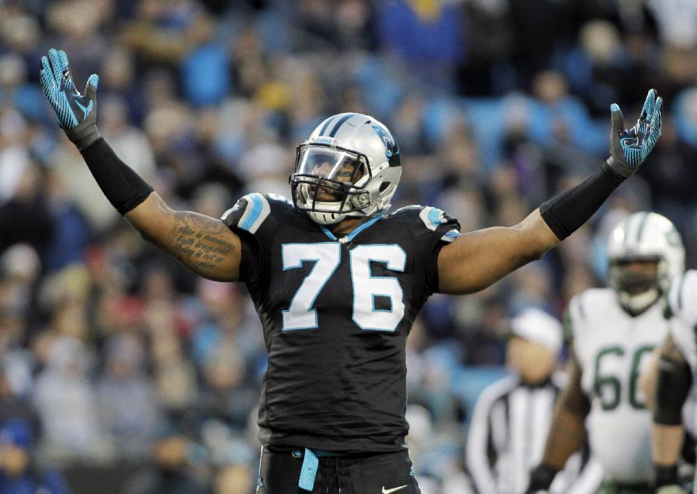 Carolina Panthers' Greg Hardy (76) celebrates after a sack against the New York Jets during the first half of an NFL football game in Charlotte, N.C., Sunday, Dec. 15, 2013. (AP Photo/Bob Leverone)