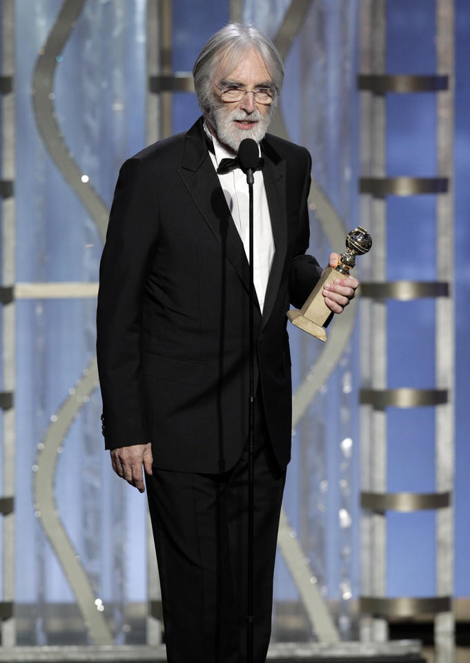 "Winner, Michael Haneke, Best Foreign Language Film, ""Amour"" on stage during the 70th Annual Golden Globe Awards held at the Beverly Hilton Hotel on January 13, 2013 -- (Photo By: Paul Drinkwater/NBC)"
