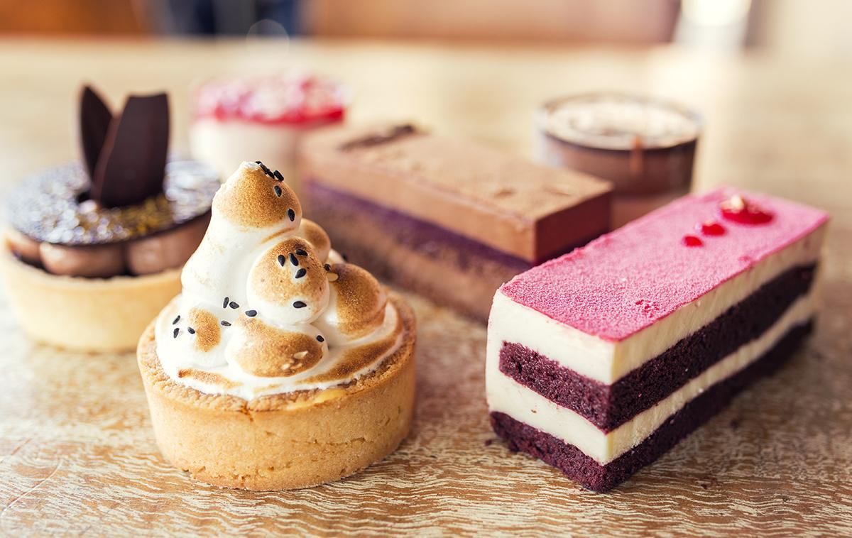 <p>The hers tray includes: Strawberry and White Choc Mousse, Chocolate Rose, Red, Velvet Slice, Passionfruit Meringue,, Chocolate Framboise slice, and Duo of Bailey's Mousse. Yum.</p>