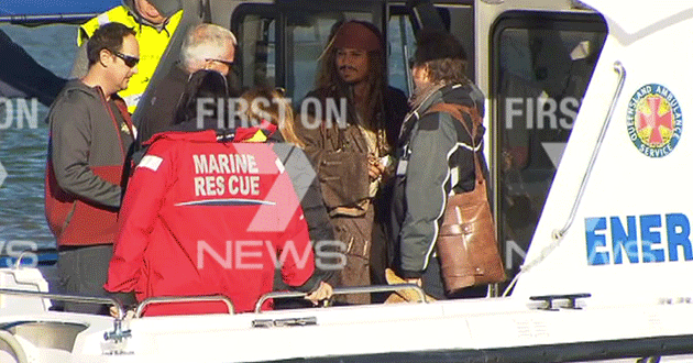 Depp and crew were taken to the set off shore.