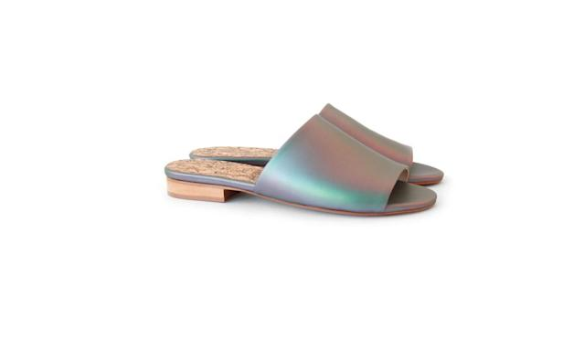 "<p>Sydney Brown is the founder of a 100% vegan footwear line. Her emerging brand revolves around the concept of ""reverence for life"" and focuses on human craftsmanship, animal-free products, and sustainability. <br><br>Flat Slide Matte Iridescent, $245, <a href=""https://www.sydney-brown.com/collections/shop-woman/products/flat-slide-matte-iridescent?variant=51565078420"" rel=""nofollow noopener"" target=""_blank"" data-ylk=""slk:sydney-brown.com"" class=""link rapid-noclick-resp"">sydney-brown.com</a> </p>"