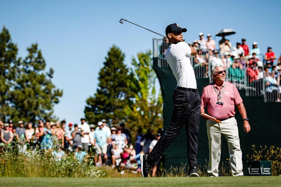 <p>Steph Curry tees off for the first round of of the 2019 American Century Championship at Edgewood Tahoe Golf Course.</p>