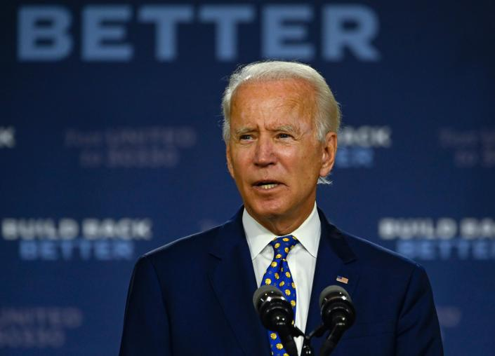 """US Democratic presidential candidate and former Vice President Joe Biden speaks during a campaign event at the William """"Hicks"""" Anderson Community Center in Wilmington, Delaware on July 28, 2020. (Andrew Caballero-Reynolds/AFP via Getty Images)"""