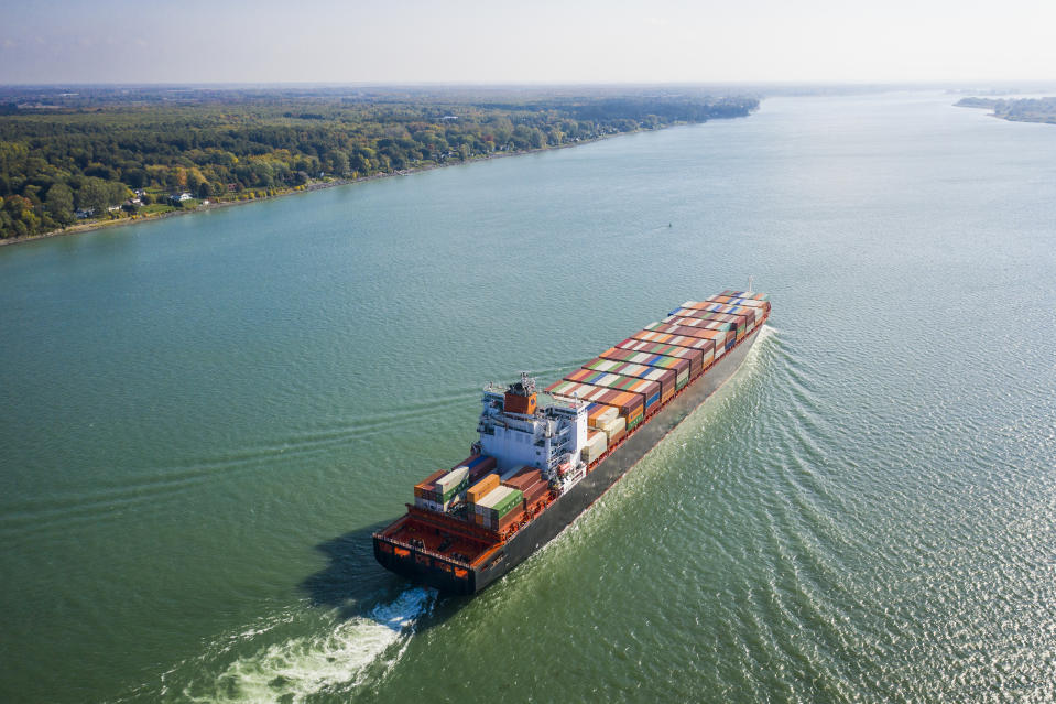 Container ship in the St. Lawrence Seaway approaching port of Montreal  (Getty)