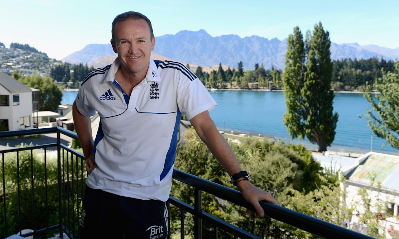 QUEENSTOWN, NEW ZEALAND - MARCH 03:  England coach Andy Flower poses a portrait after a press conference at the team hotel on March 3, 2013 in Queenstown, New Zealand.  (Photo by Gareth Copley/Getty Images)