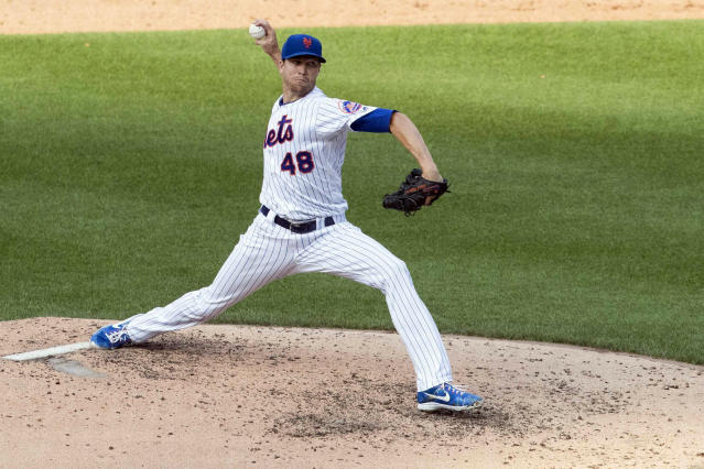 New York Mets starting pitcher Jacob deGrom delivers during the sixth inning of a baseball game against the Miami Marlins, Monday, Aug. 5, 2019, in New York. (AP Photo/Mary Altaffer)