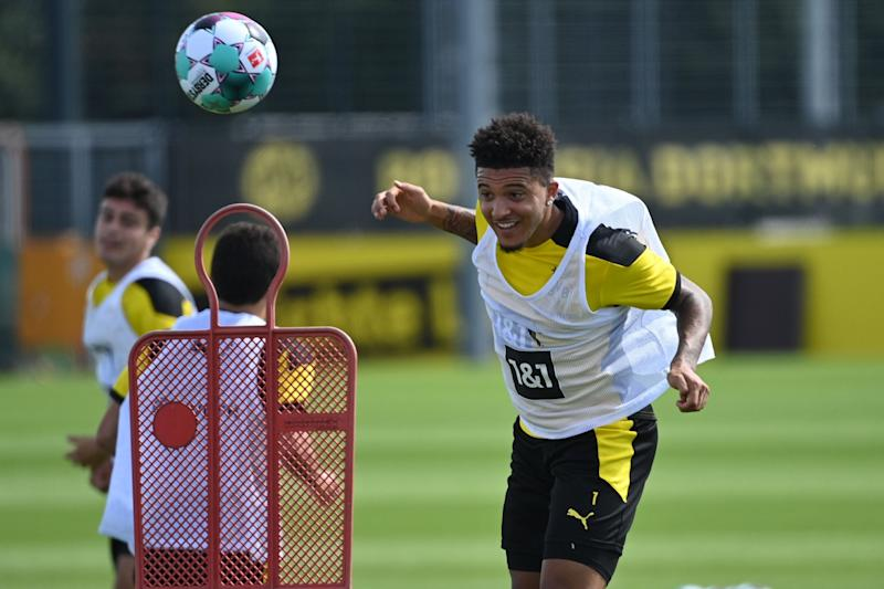 Manchester United are locked in talks with Borussia Dortmund over a deal for England forward Jadon Sancho (AFP via Getty Images)