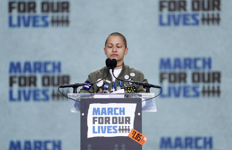 """Emma Gonzalez, a student and shooting survivor from the Marjory Stoneman Douglas High School in Parkland, Florida, cries as she addresses the conclusion of the """"March for Our Lives"""" event demanding gun control after recent school shootings at a rally in Washington, U.S., March 24, 2018. REUTERS/Aaron P. Bernstein"""