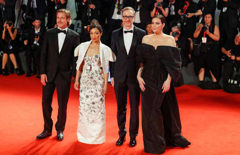 """The 76th Venice Film Festival - Screening of the film """"Ad Astra"""" in competition - Red Carpet Arrivals - Venice, Italy, August 29, 2019 - Director James Gray and Actors Brad Pitt, Ruth Negga and Liv Tyler pose. REUTERS/Yara Nardi"""