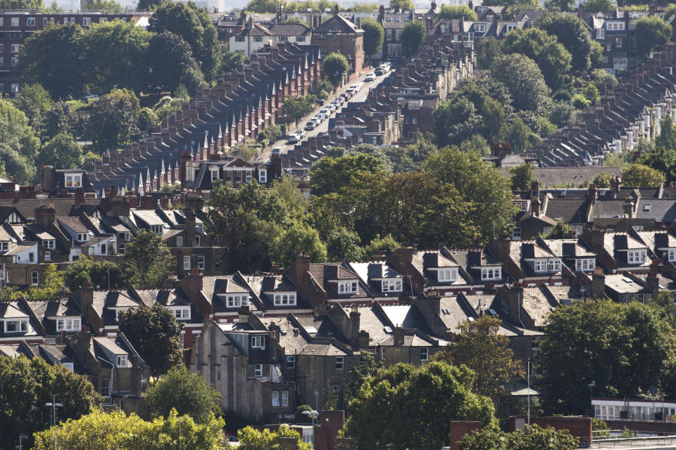 General view of rows of houses in Haringey, north London. September 30th will mark 100 days since the UK voted to leave the EU, and the resulting drop in value in the pound has prompted foreign buyers to purchase property across the capital - including traditionally cheaper areas.