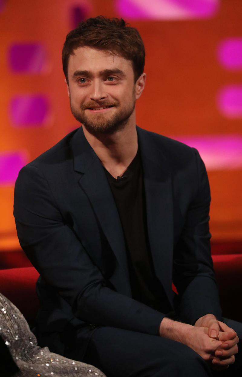 Daniel Radcliffe during the filming for the Graham Norton Show at BBC Studioworks 6 Television Centre, Wood Lane, London, to be aired on BBC One on Friday evening. (Photo by Isabel Infantes/PA Images via Getty Images)