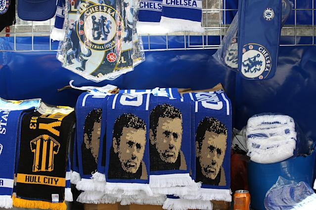Jose Mourinho scarves for sale outside Stamford Bridge