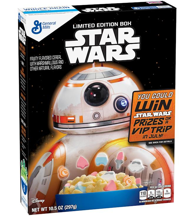 <p>This limited edition cereal was introduced in 2015 to promote the release of <em>The Force Awakens</em>. (Photo: General Mills) </p>