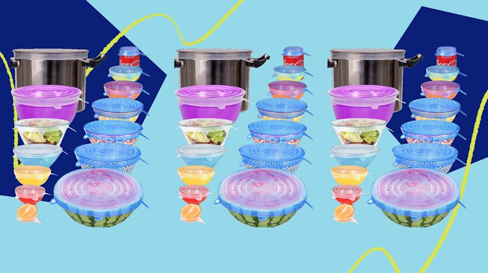 For leftovers, these silicone stretch lids will help food stay fresh without cluttering your kitchen cabinets. (Photo: HuffPost )