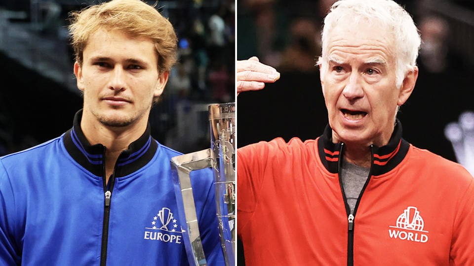 John McEnroe and Alexander Zverev, pictured here at the Laver Cup.
