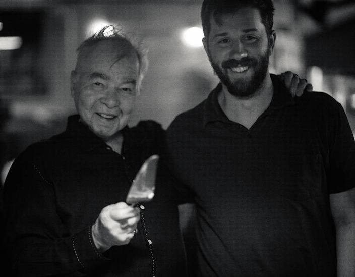 The late John Prine with his eldest son, Jody Whelan. Whelan has taken over running Oh Boy Records now that both founders are gone.