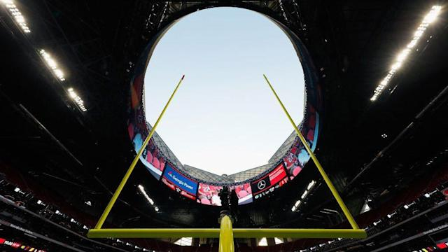 The Falcons' stadium is a bit leaky. (Getty)