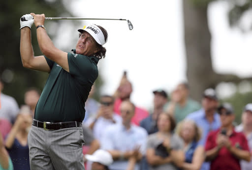 Phil Mickelson hits a shot on the sixth hole during the third round of the Northern Trust golf tournament, Saturday, Aug. 25, 2018, in Paramus, N.J. (AP Photo/Mel Evans)