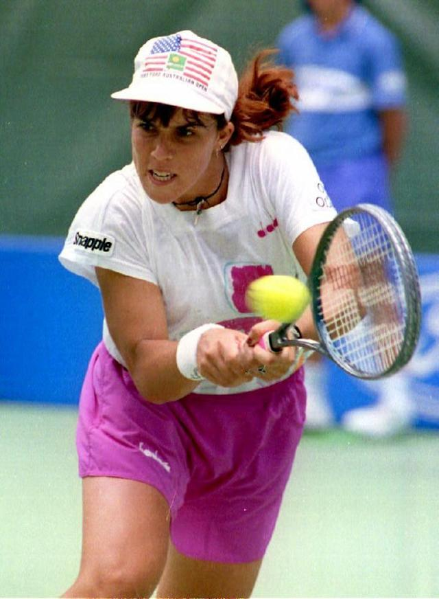 """<span class=""""element-image__caption"""">Jennifer Capriati hits the ball to Katerina Maleeva of Bulgaria at the 1993 Australian Open.</span> <span class=""""element-image__credit"""">Photograph: David Callow/AFP/Getty Images</span>"""
