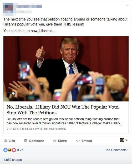 """This is <a href=""""http://www.snopes.com/2016/11/13/who-won-the-popular-vote/"""" target=""""_blank"""">false</a>."""