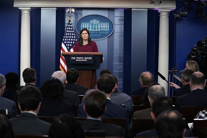 White House press secretary Sarah Huckabee Sanders at the daily news briefing last week. (Photo: Alex Wong via Getty Images)