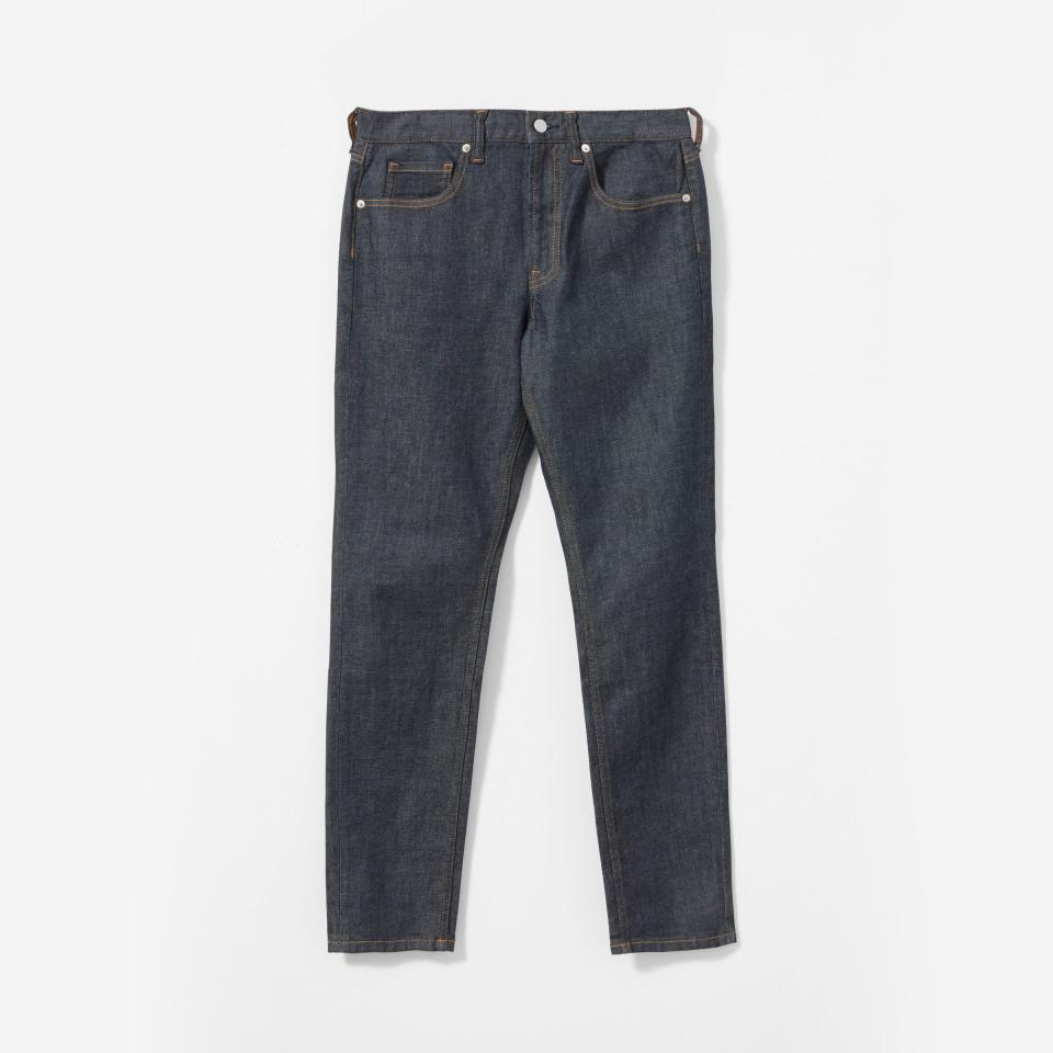 """<p><strong>Everlane</strong></p><p>everlane.com</p><p><strong>$68.00</strong></p><p><a href=""""https://go.redirectingat.com?id=74968X1596630&url=https%3A%2F%2Fwww.everlane.com%2Fproducts%2Fmens-athletic-fit-darkindigo&sref=https%3A%2F%2Fwww.oprahmag.com%2Flife%2Frelationships-love%2Fg26825396%2Fgifts-for-dad%2F"""" rel=""""nofollow noopener"""" target=""""_blank"""" data-ylk=""""slk:Shop Now"""" class=""""link rapid-noclick-resp"""">Shop Now </a></p><p>He'll appreciate just how roomy (and stretchy!) these dark-wash jeans are. </p>"""