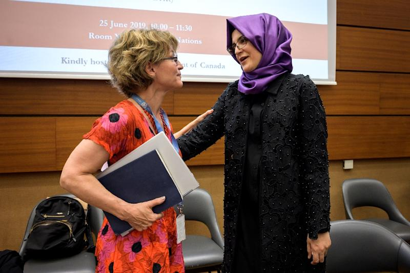 UN special rapporteur on extrajudicial, summary or arbitrary executions Agnes Callamard, left, who issued a damning report on the killing of Saudi journalist Jamal Khashoggi, and his Turkish fiancee Hatice Cengiz