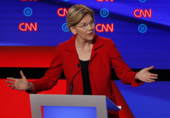 Sen. Elizabeth Warren, D-Mass., participates in the first of two Democratic presidential primary debates hosted by CNN in the Fox Theatre in Detroit on July 30, 2019. | Paul Sancya—AP