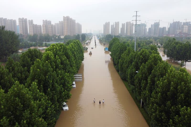 FILE PHOTO: Aerial view shows a flooded road following heavy rainfall in Zhengzhou