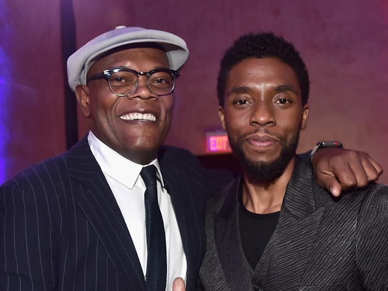 Jackson and Boseman at the 'Captain Marvel' premiere (Getty Images for Disney)
