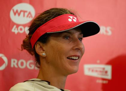 Monica Seles talks to the media before her exhibition doubles match on day 1 of the Rogers Cup Toronto at Rexall Centre at York University on August 5, 2013 in Toronto, Canada. (Photo by Andy Lyons/Getty Images)