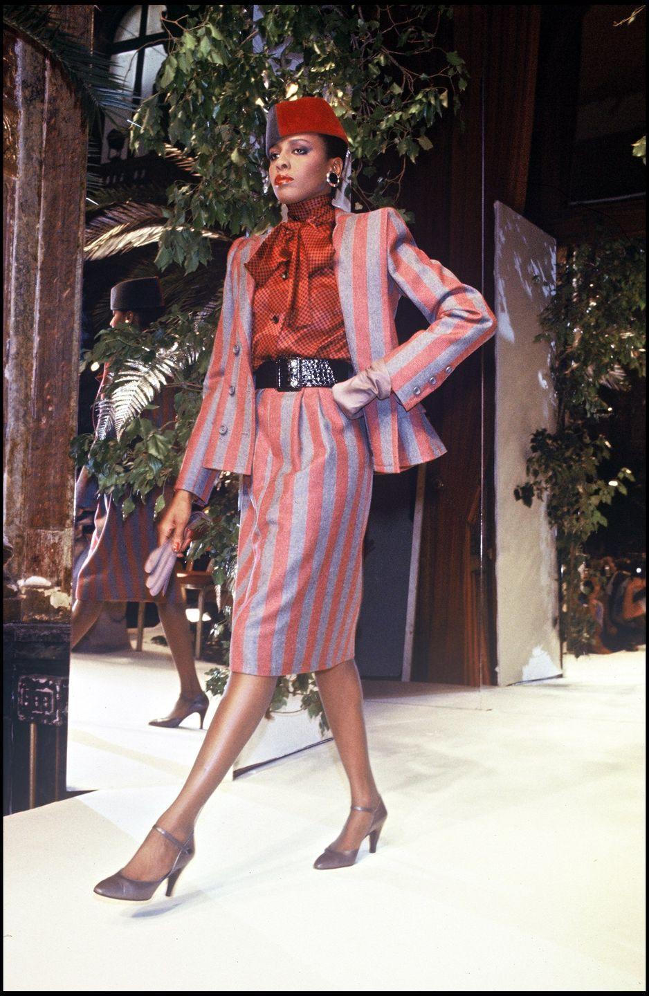 <p>Givenchy's 1984-1985 fall/winter collection paid homage to some of the high-waisted suits seen in fall fashion decades before.</p>