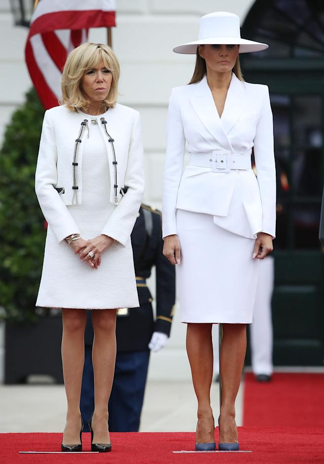 <p>On the second day of the official state visit, Melania Trump graced the headlines with a talking point of an outfit. To colour co-ordinate with her Michael Kors skirt suit, she accessorised with a supersized hat by Hervé Pierre. <em>[Photo: Getty]</em> </p>