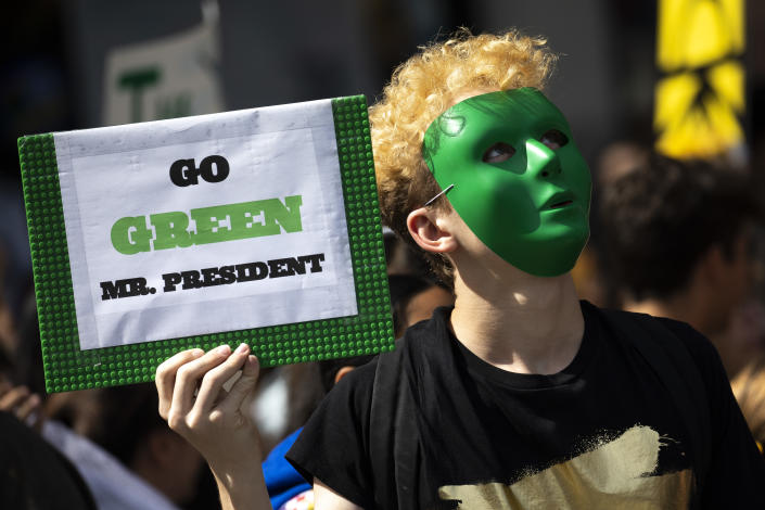 Young activists and their supporters rally for action on climate change on September 20, 2019 in New York City. (Photo: Drew Angerer/Getty Images)