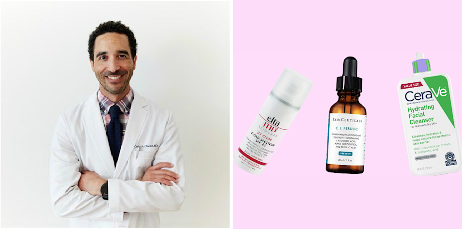 """<h1 class=""""title"""">dr. carlos charles; his favorite skin-care products on a pink background</h1><cite class=""""credit"""">Courtesy of Dr. Carlos Charles/Brittany Theophilus</cite>"""