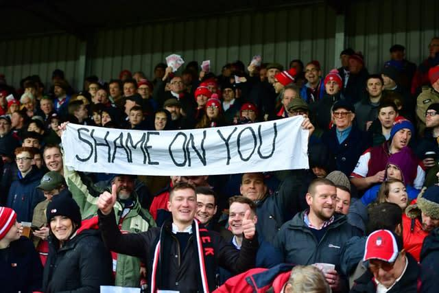 Gloucester fans mock Saracens following their punishment for breaching salary cap rules (Simon Galloway/PA)