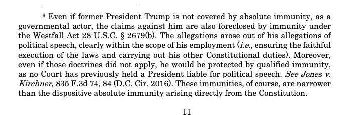 a passage of text from trump's lawyers explaining why he should get immunity in the swalwell lawsuit