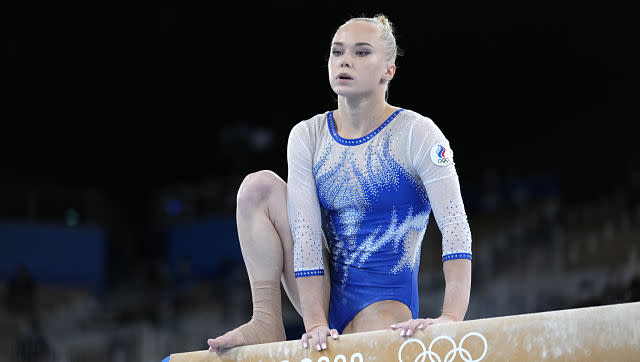 Russian Olympic Committee's Angelina Melnikova in action during the women's team gymnastics final. AP