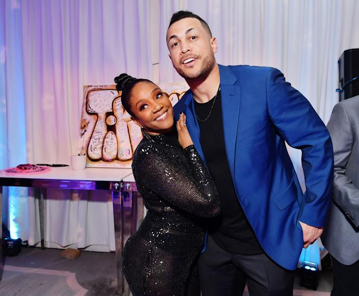 L-R) Tiffany Haddish and Giancarlo Stanton attends Tiffany Haddish: Black Mitzvah at SLS Hotel on December 03, 2019 in Beverly Hills, California.
