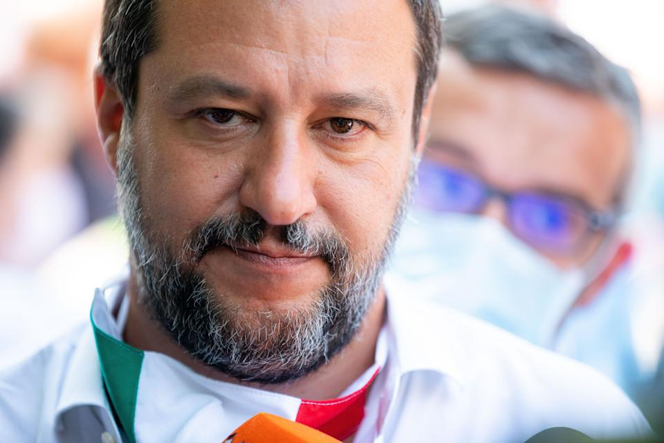 Lega Political party leader Matteo Salvini attends the demonstration called 'Basta degrado al QT8' (Stop to degradation at QT8) for a greater safety near to the covered market in Via Isernia on July 20, 2020 in Milan, Italy (Photo by Alessandro Bremec/NurPhoto via Getty Images) (Photo: NurPhoto via Getty Images)