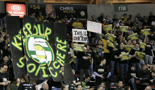 Seattle fans make a final plea inside KeyArena to save their SuperSonics. (AP)