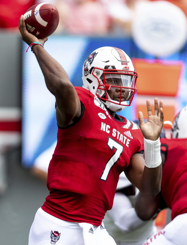 North Carolina State's Matthew McKay makes a throw during the first half of an NCAA college football game against Western Carolina in Raleigh, N.C., Saturday, Sep 7, 2019. (AP Photo/Ben McKeown)
