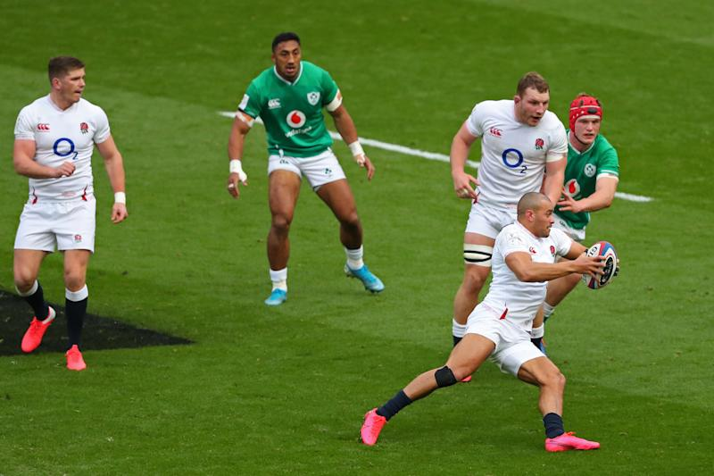 Jonathan Joseph of England runs with the ball during Guinness Six Nations between England and Ireland at Twickenham Stadium in London, England on February 23, 2020. (Photo by Mitchell Gunn/Espa-Images/CSM/Sipa USA)
