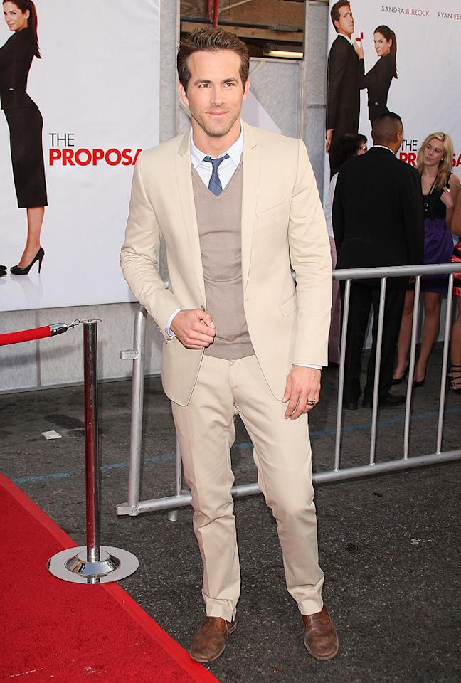 """<a href=""""http://movies.yahoo.com/movie/contributor/1800025139"""">Ryan Reynolds</a> at the Los Angeles premiere of <a href=""""http://movies.yahoo.com/movie/1810012112/info"""">The Proposal</a> - 06/01/2009"""