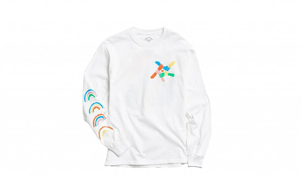 """<p><a href=""""https://www.urbanoutfitters.com/en-gb/shop/uo-community-cares-glsen-pride-long-sleeve-t-shirt?category=SEARCHRESULTS&color=010"""" rel=""""nofollow noopener"""" target=""""_blank"""" data-ylk=""""slk:Urban Outfitters, £35"""" class=""""link rapid-noclick-resp"""">Urban Outfitters, £35</a> </p>"""
