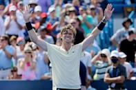 Russia's Andrey Rublev celebrates after beating top-seeded compatriot Daniil Medvedev in the semi-finals of the ATP Cincinnati Masters
