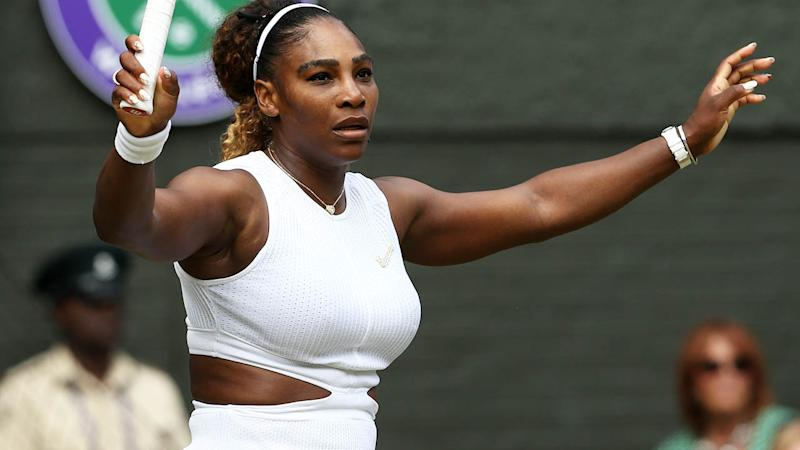 Serena Williams celebrates her win in the Wimbledon semi-finals. (Photo by Rob Newell - CameraSport via Getty Images)