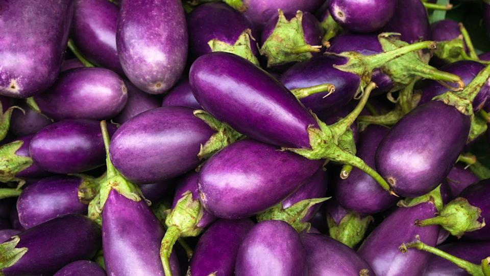 """<p>Eggplant is a versatile vegetable that can absorb the flavor of whatever else is going in your dish. Plus, <a href=""""https://www.ncbi.nlm.nih.gov/pubmed/21894326"""" rel=""""nofollow noopener"""" target=""""_blank"""" data-ylk=""""slk:studies"""" class=""""link rapid-noclick-resp"""">studies</a> have shown that eggplant contains cardioprotective compounds for a healthier heart.</p><p><strong>RELATED:</strong> <a href=""""https://www.goodhousekeeping.com/food-recipes/g3195/eggplant-recipes/"""" rel=""""nofollow noopener"""" target=""""_blank"""" data-ylk=""""slk:20+ Dishes That Will Make You Fall in Love with Eggplant"""" class=""""link rapid-noclick-resp"""">20+ Dishes That Will Make You Fall in Love with Eggplant</a></p>"""