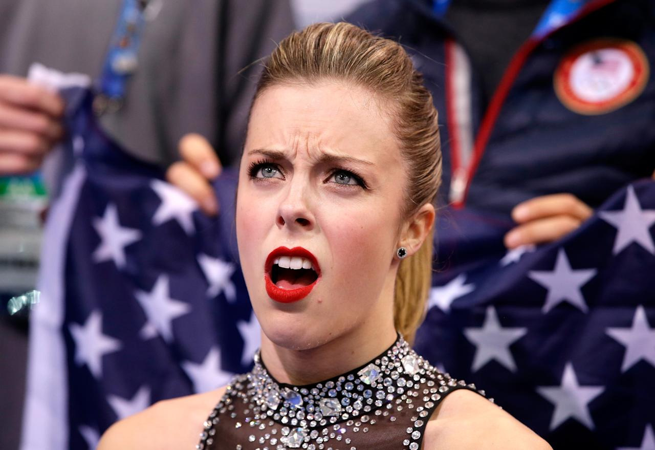 SOCHI, RUSSIA - FEBRUARY 08: Ashley Wagner of the United States reacts to her score after competing in the Figure Skating Team Ladies Short Program during day one of the Sochi 2014 Winter Olympics at Iceberg Skating Palace on February 8, 2014 in Sochi, Russia. (Photo by Darren Cummings/Pool/Getty Images)