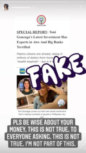 Toni Gonzaga warned the public about the scam that used her name